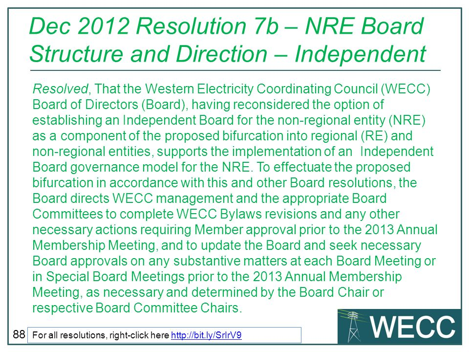 Dec 2012 Resolution 7b – NRE Board Structure and Direction – Independent