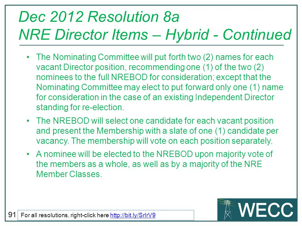 Dec 2012 Resolution 8a NRE Director Items – Hybrid - Continued