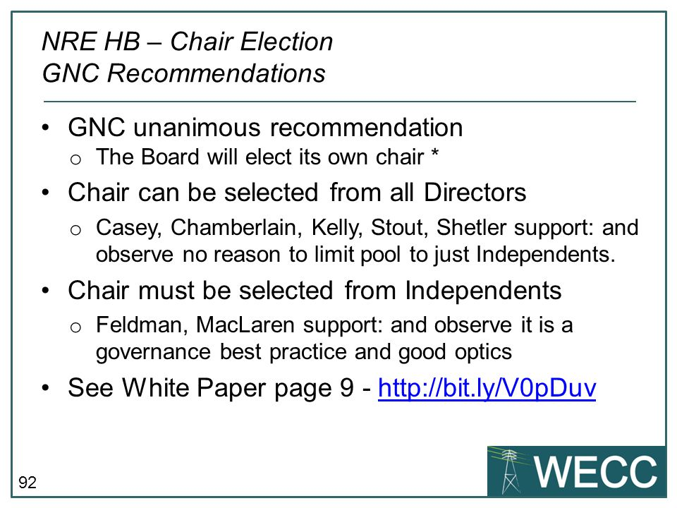 NRE HB – Chair Election GNC Recommendations