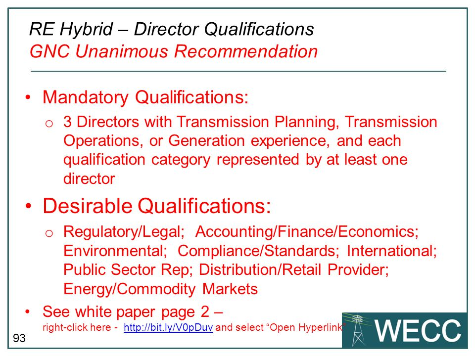 RE Hybrid – Director Qualifications GNC Unanimous Recommendation