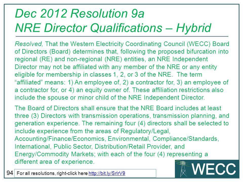 Dec 2012 Resolution 9a NRE Director Qualifications – Hybrid