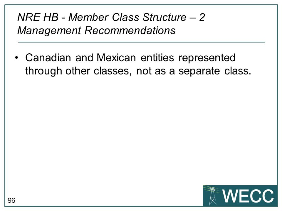 NRE HB - Member Class Structure – 2 Management Recommendations
