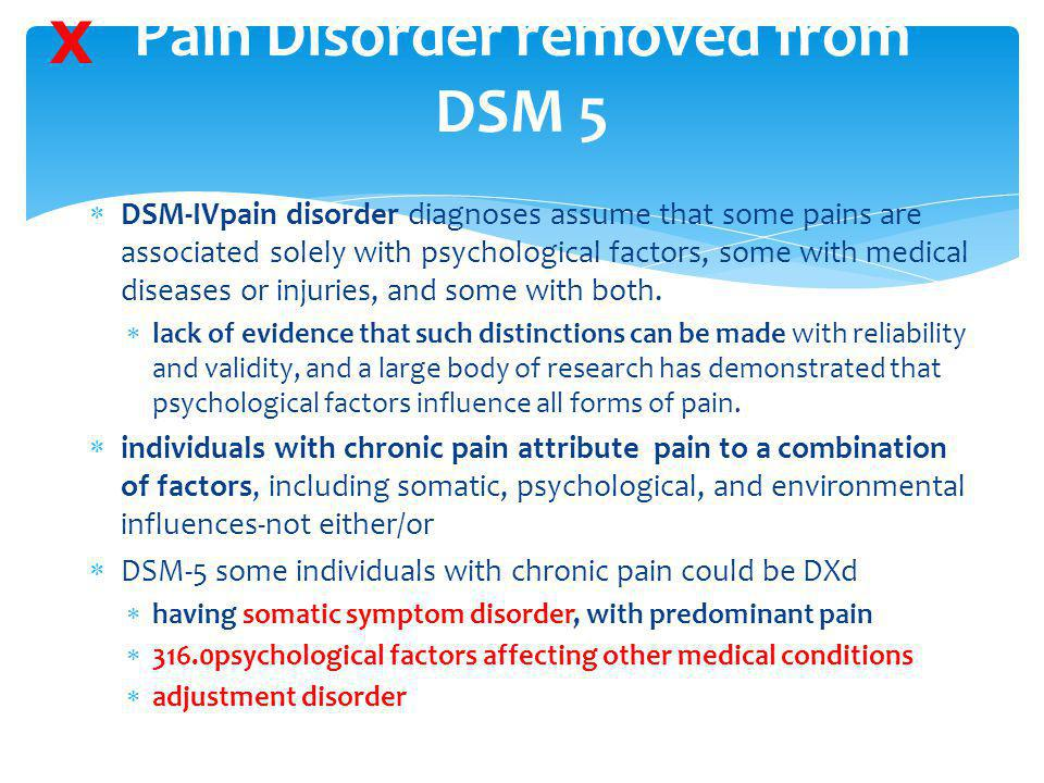 Pain Disorder removed from DSM 5