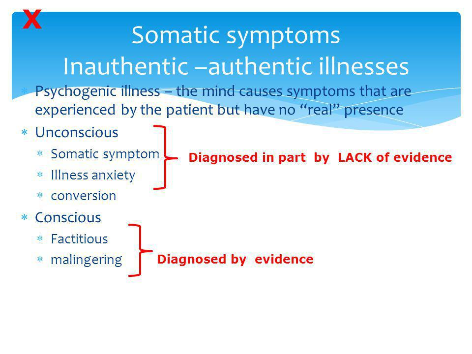 Somatic symptoms Inauthentic –authentic illnesses