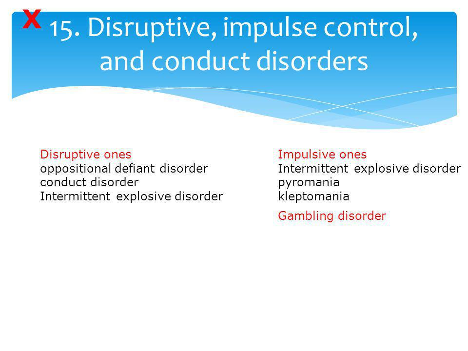 15. Disruptive, impulse control, and conduct disorders
