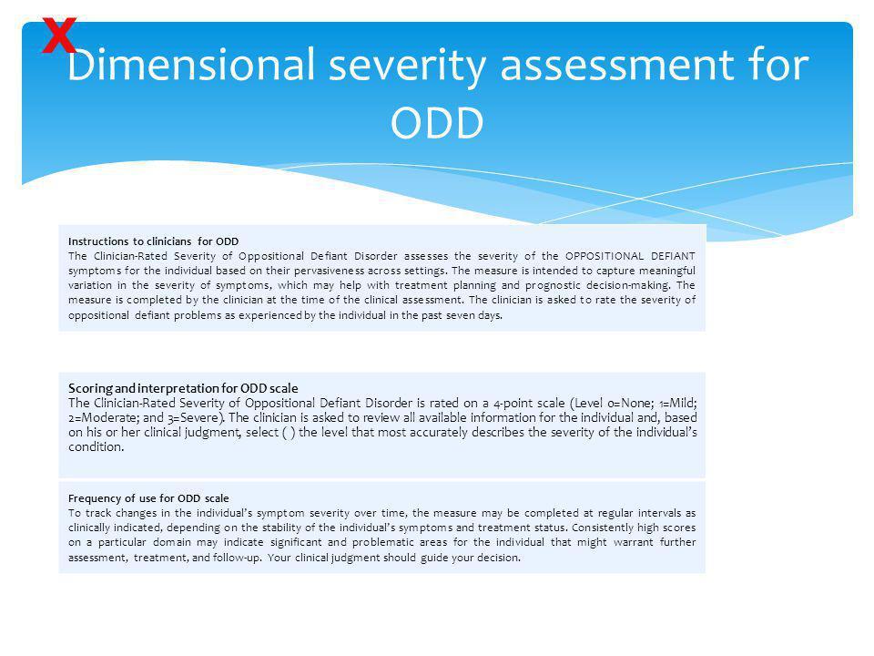 Dimensional severity assessment for ODD