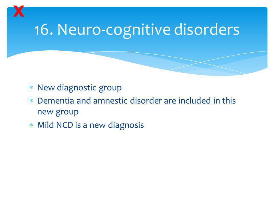 16. Neuro-cognitive disorders