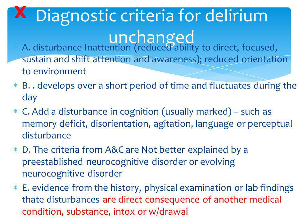 Diagnostic criteria for delirium unchanged