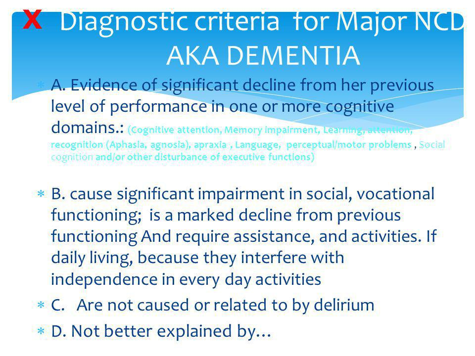 Diagnostic criteria for Major NCD AKA DEMENTIA