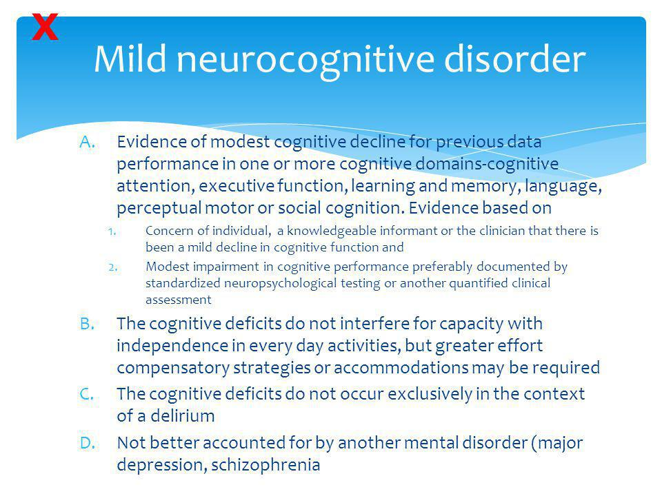 Mild neurocognitive disorder