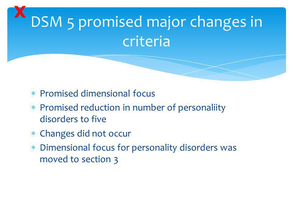 DSM 5 promised major changes in criteria