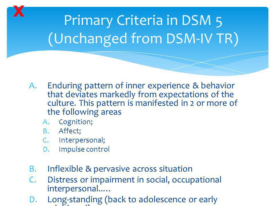 Primary Criteria in DSM 5 (Unchanged from DSM-IV TR)