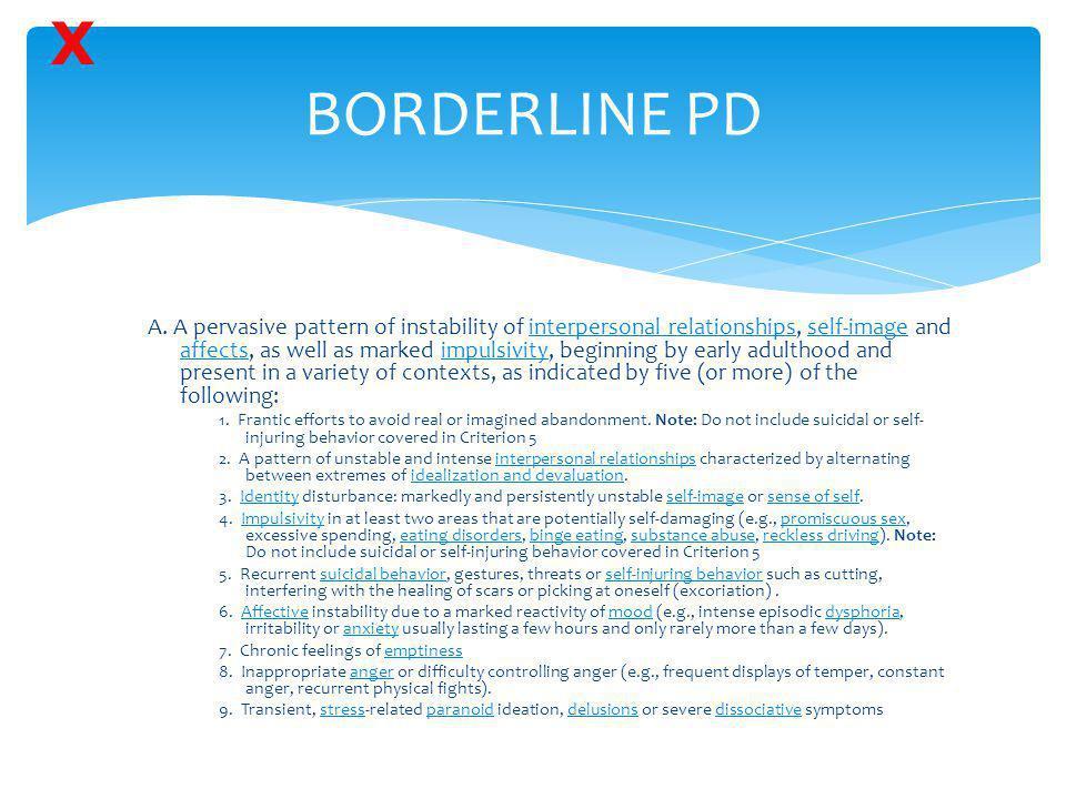 X BORDERLINE PD.