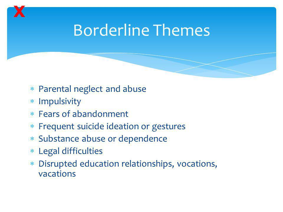 Borderline Themes X Parental neglect and abuse Impulsivity