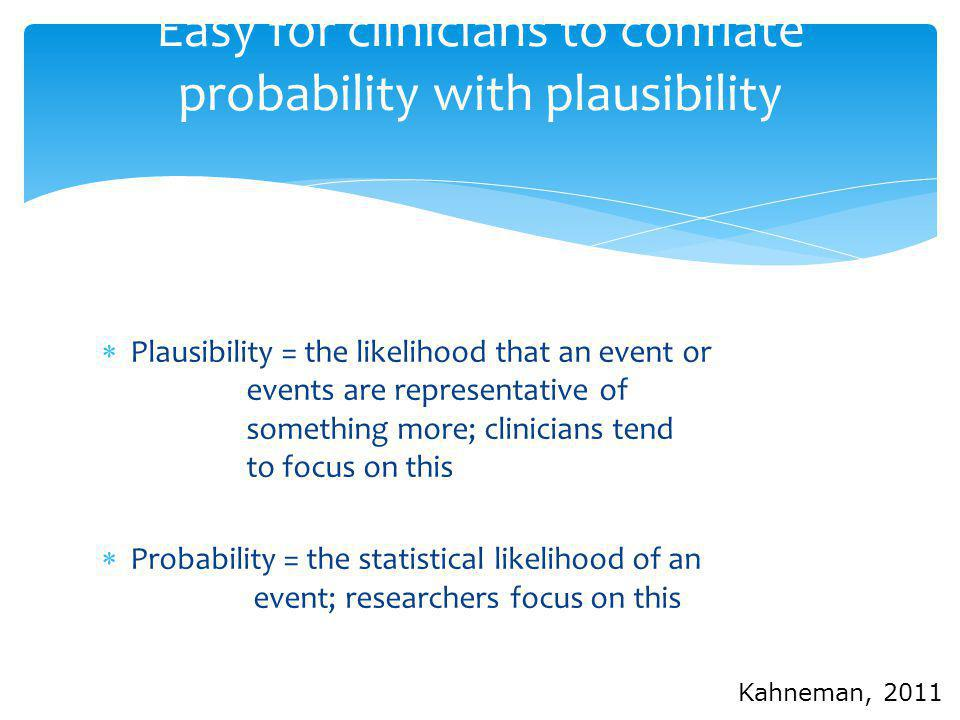 Easy for clinicians to conflate probability with plausibility