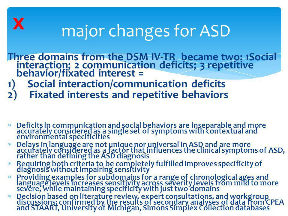 X major changes for ASD.