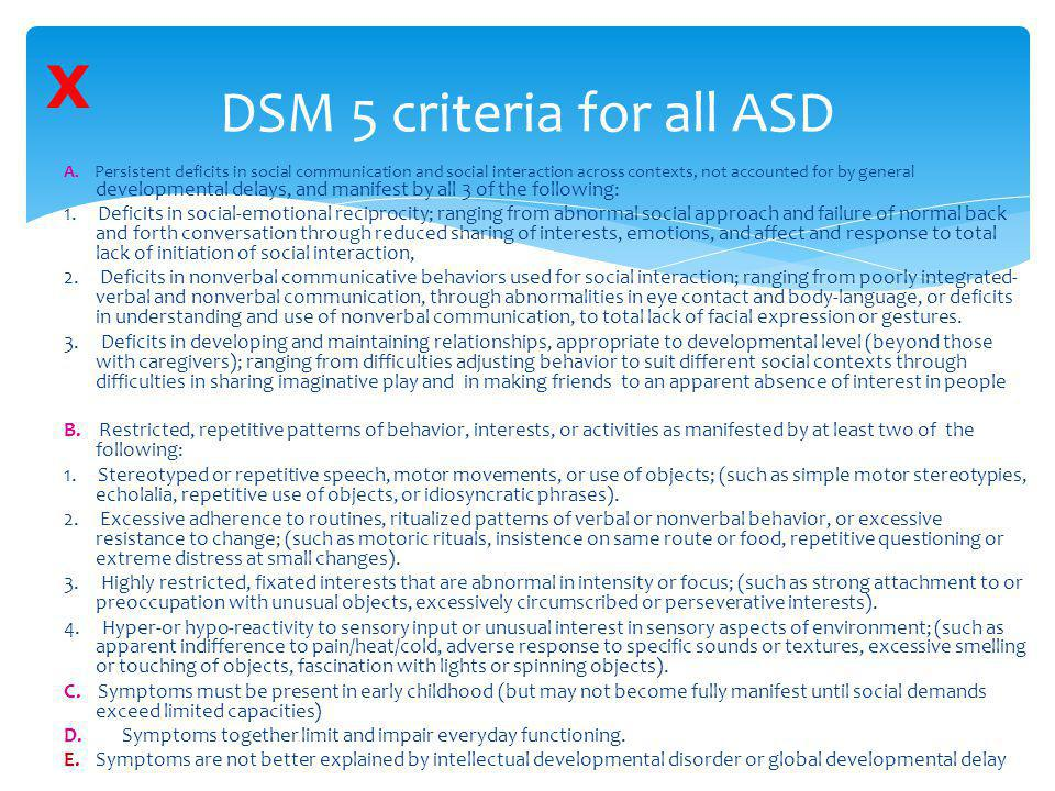 DSM 5 criteria for all ASD