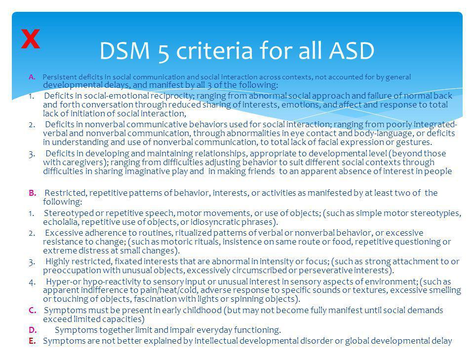 DSM 5 criteria for all ASD
