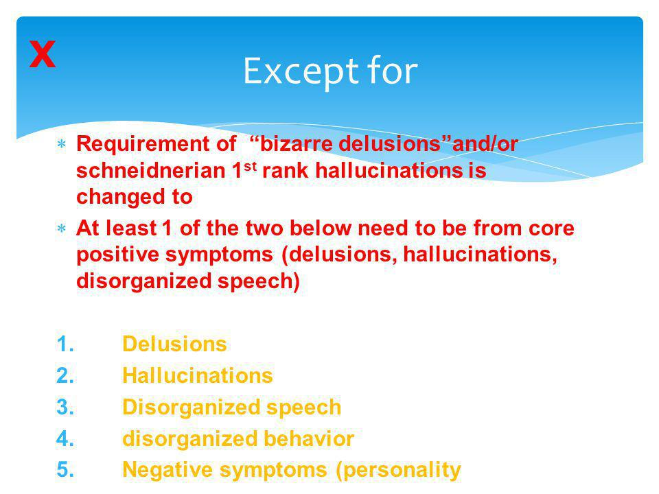 X Except for. Requirement of bizarre delusions and/or schneidnerian 1st rank hallucinations is changed to.