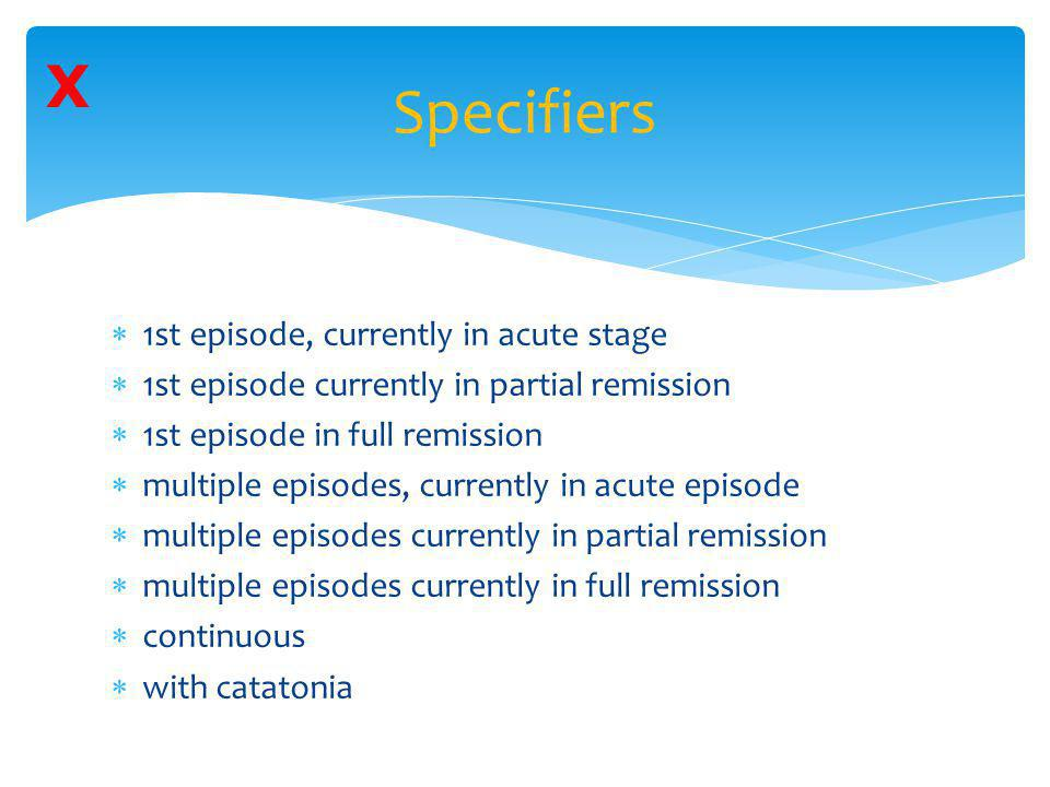Specifiers X 1st episode, currently in acute stage