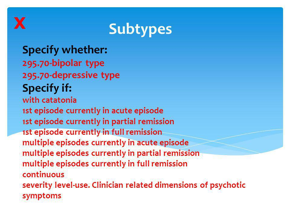 X Subtypes.