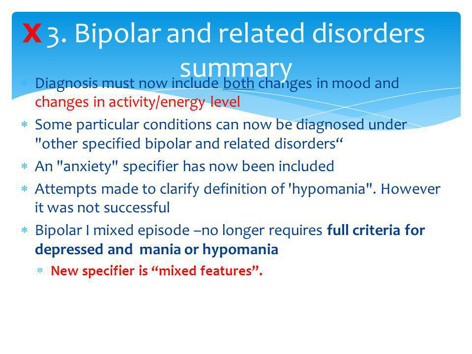 3. Bipolar and related disorders summary