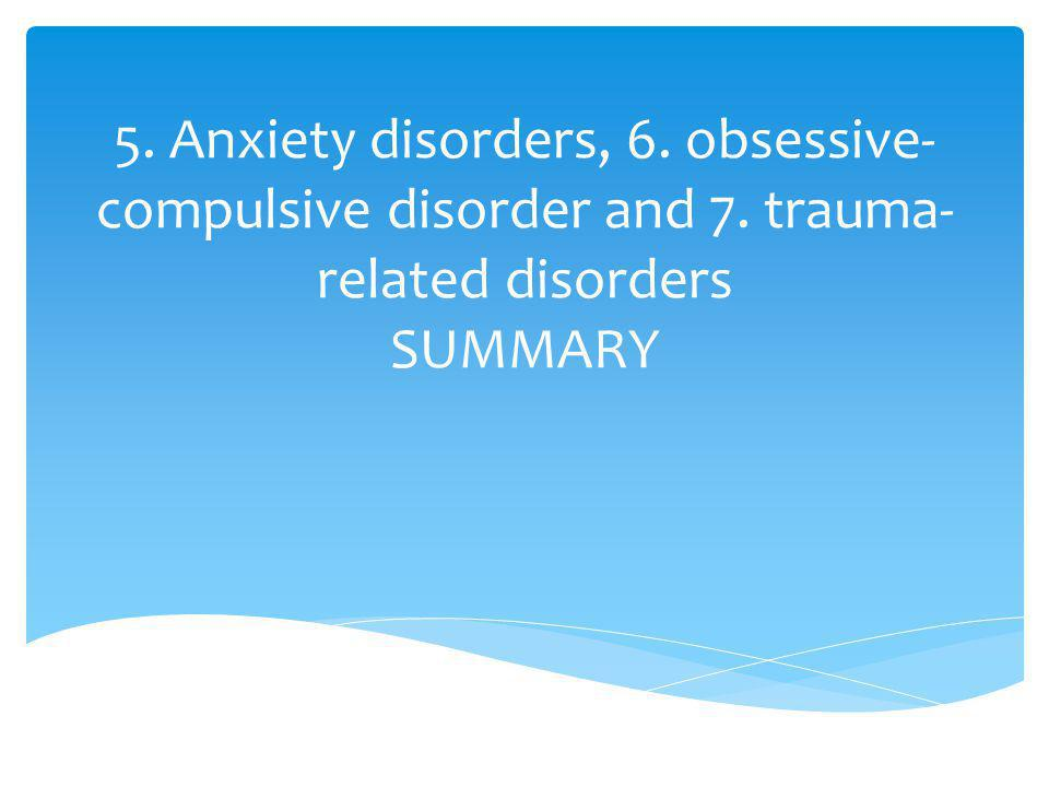 5. Anxiety disorders, 6. obsessive-compulsive disorder and 7