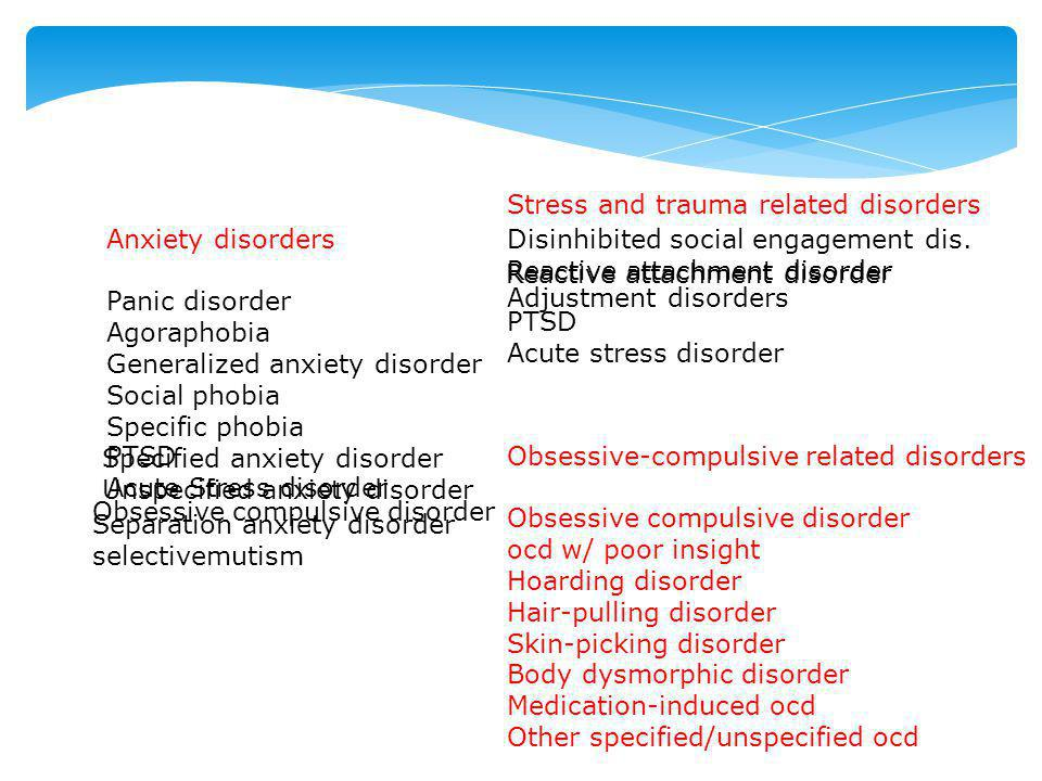 Stress and trauma related disorders