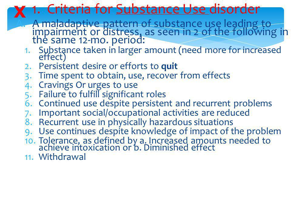 1. Criteria for Substance Use disorder