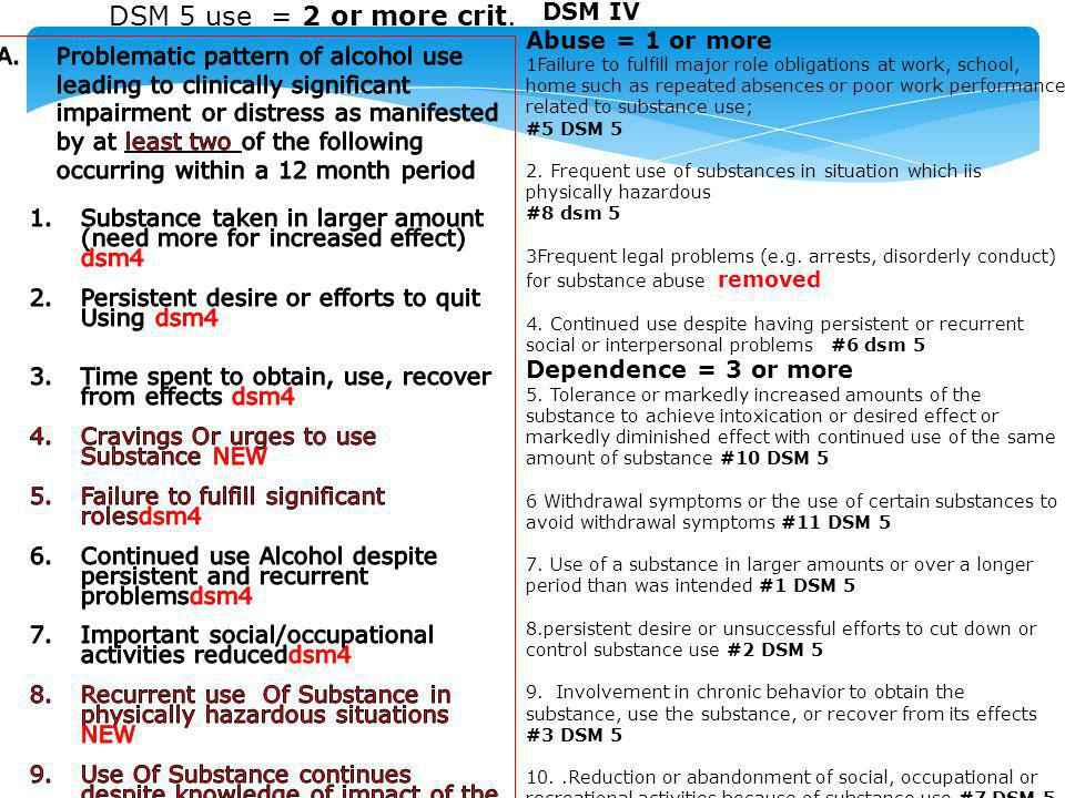 DSM 5 use = 2 or more crit. DSM IV Abuse = 1 or more
