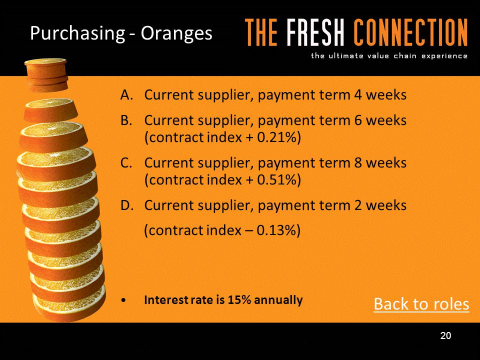Purchasing - Oranges Back to roles