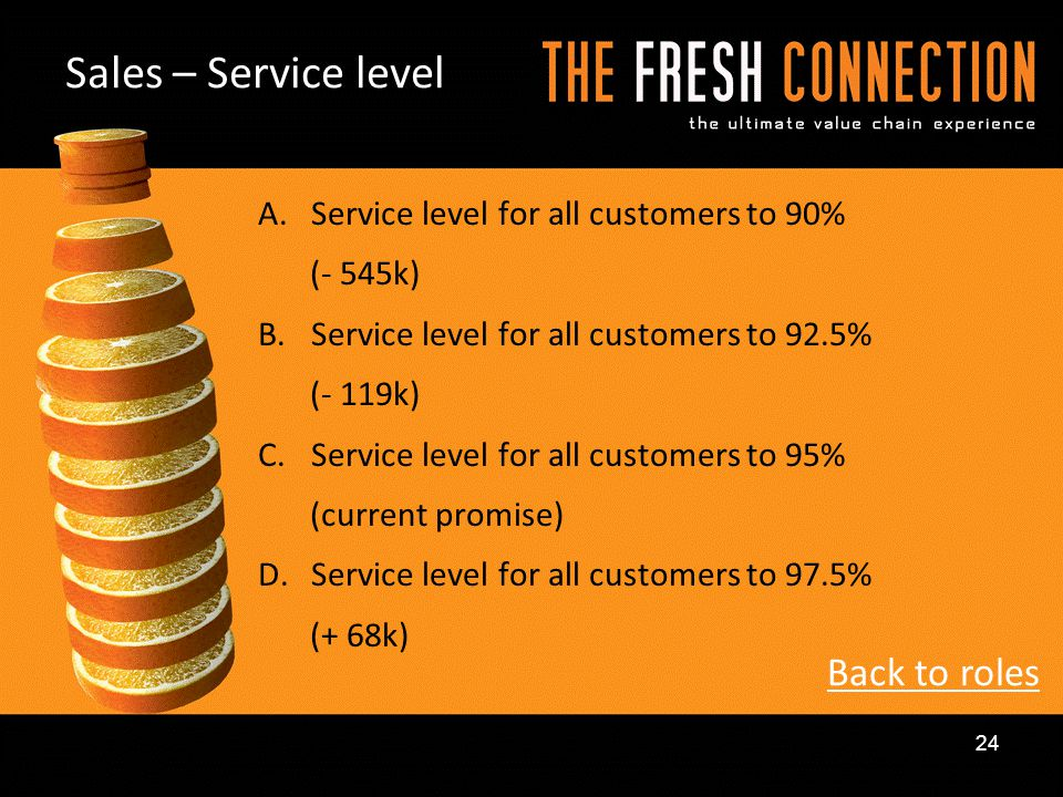 Sales – Service level Back to roles