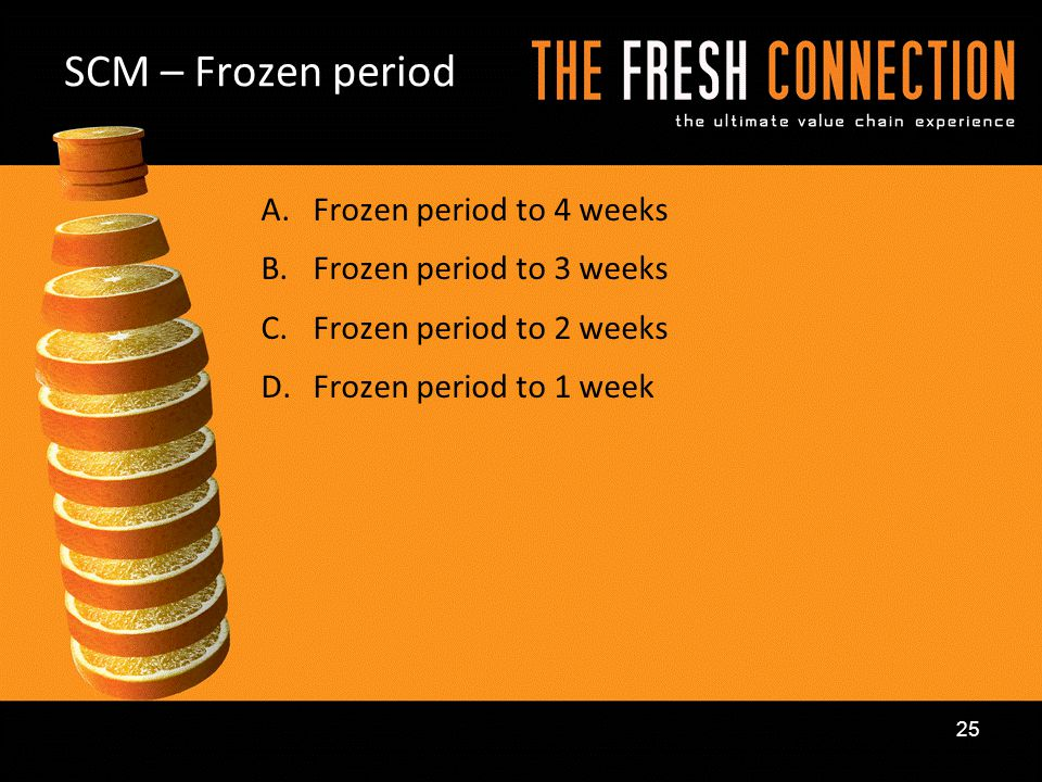 SCM – Frozen period Frozen period to 4 weeks Frozen period to 3 weeks
