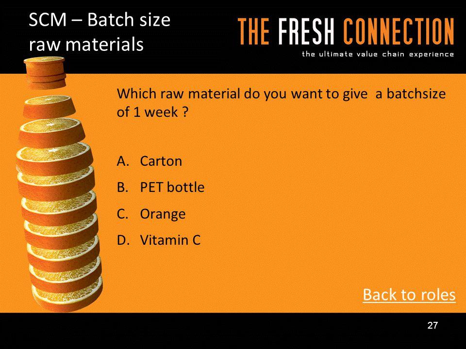 SCM – Batch size raw materials