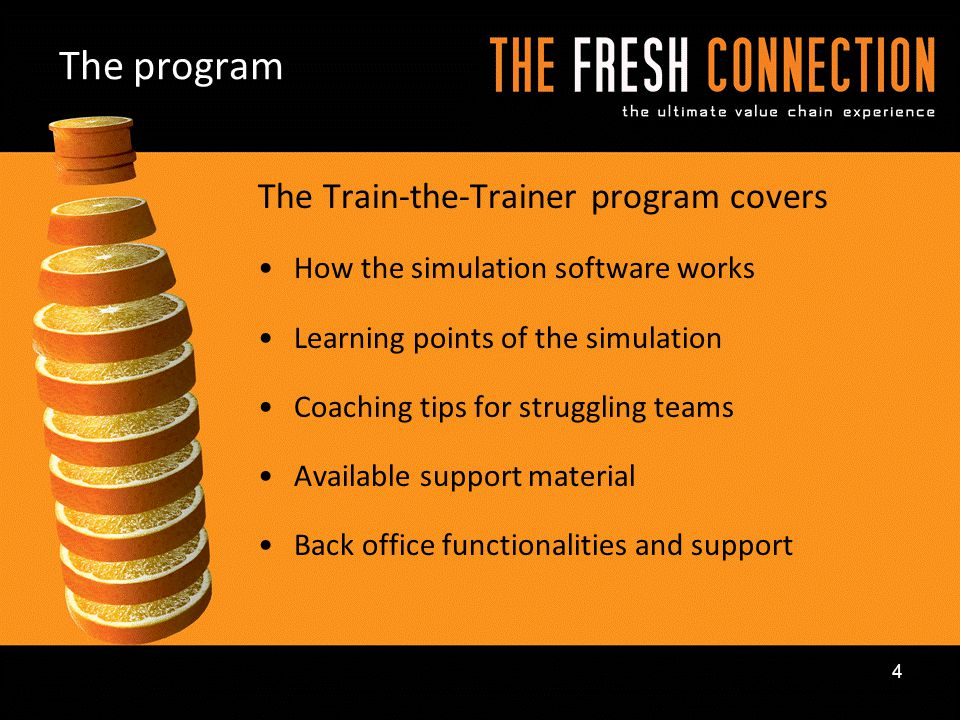 The program The Train-the-Trainer program covers