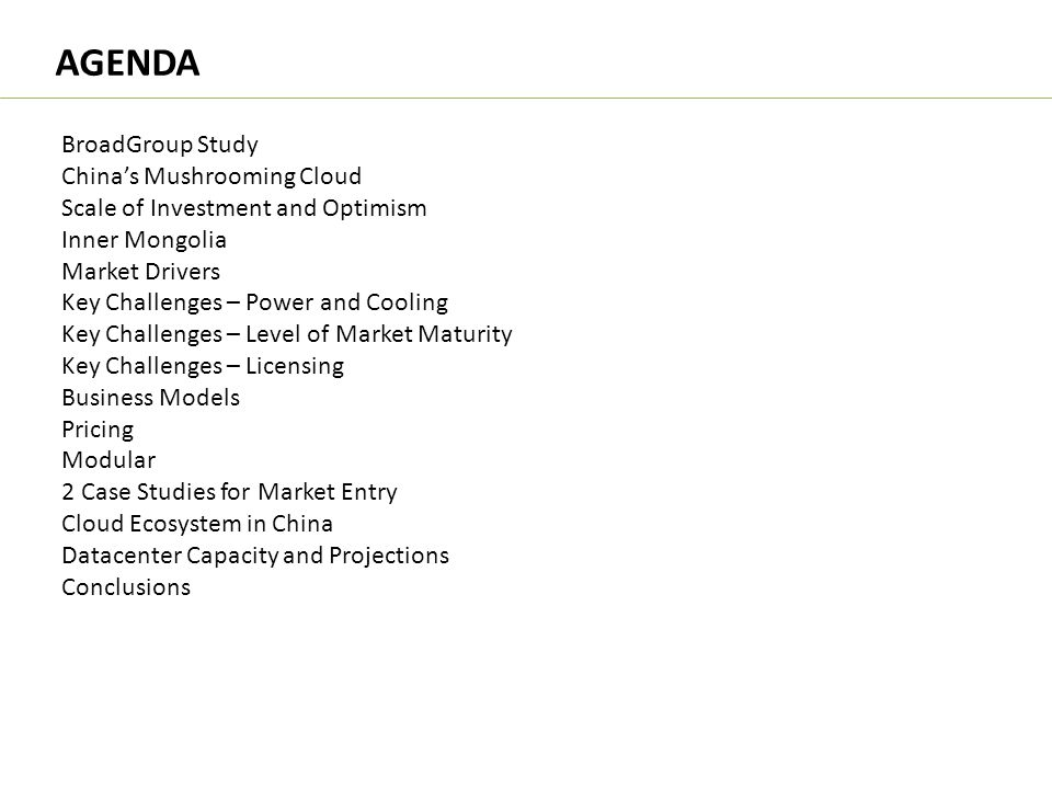 AGENDA BroadGroup Study China's Mushrooming Cloud