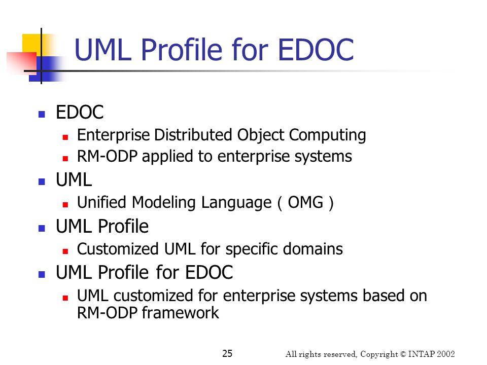 UML Profile for EDOC EDOC UML UML Profile UML Profile for EDOC