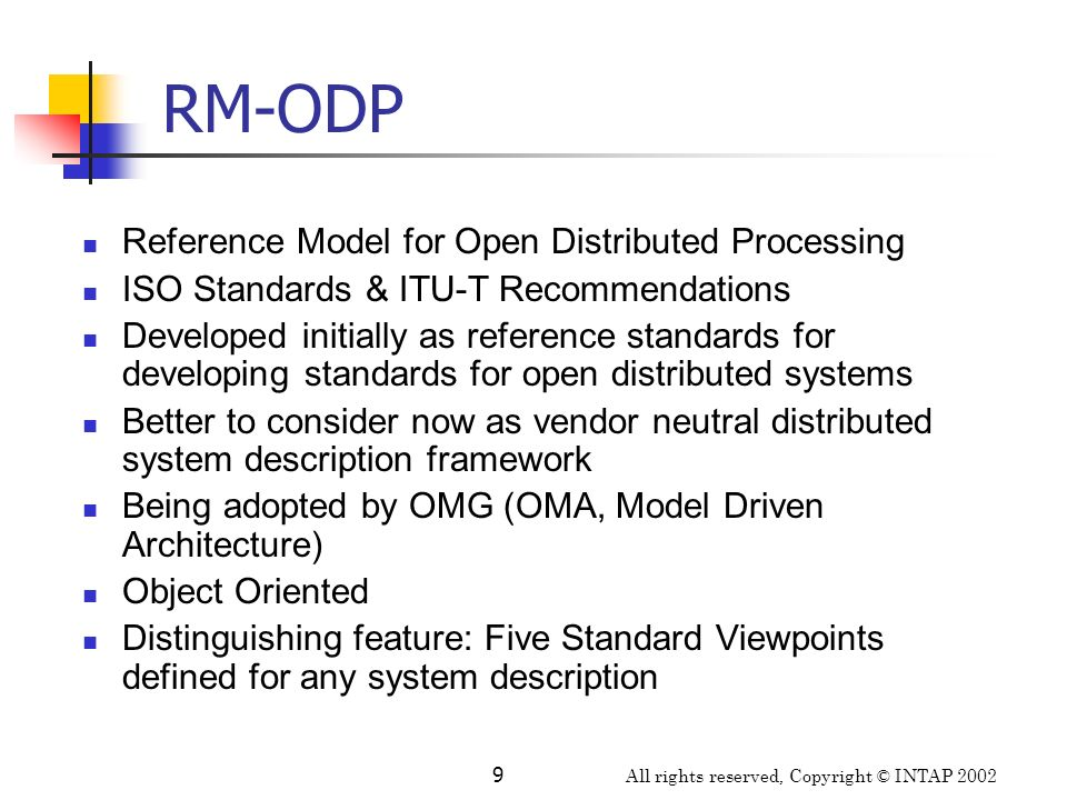 RM-ODP Reference Model for Open Distributed Processing