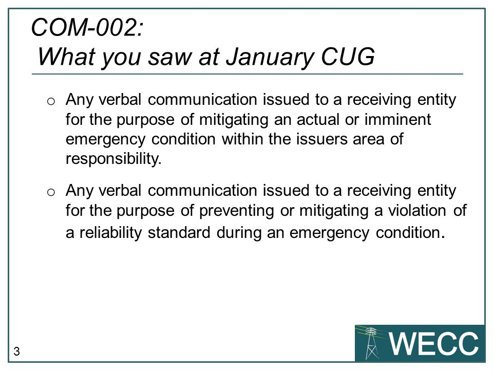 COM-002: What you saw at January CUG