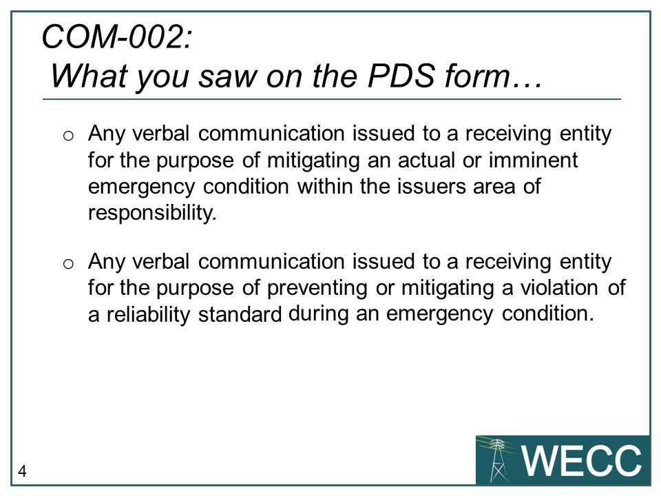 COM-002: What you saw on the PDS form…