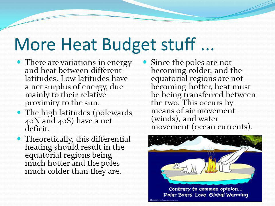 More Heat Budget stuff ...