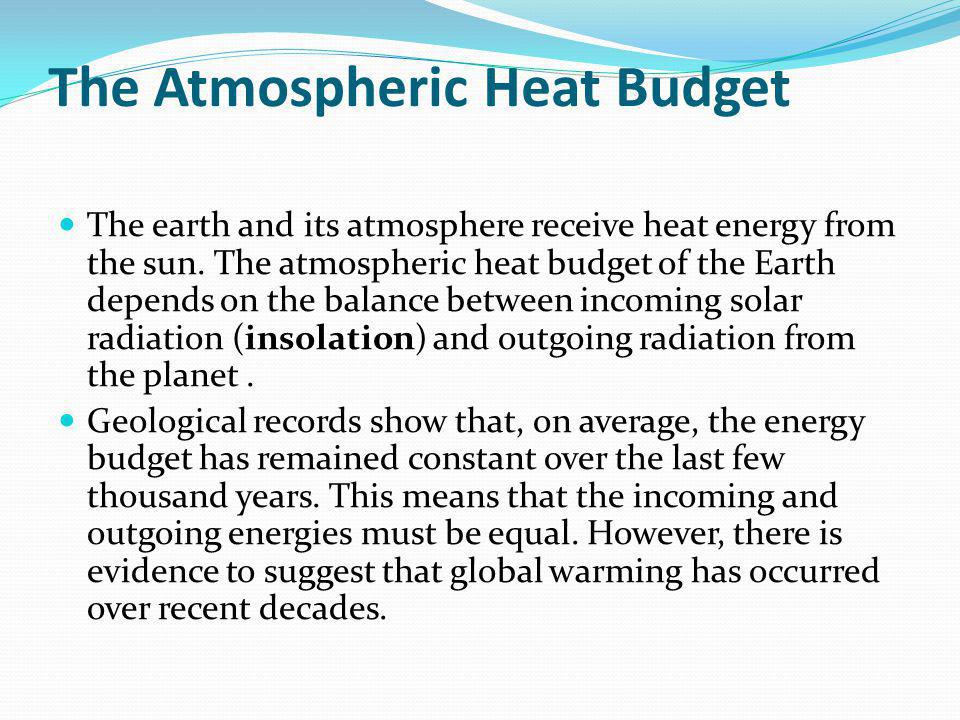 The Atmospheric Heat Budget