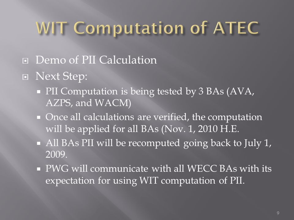 WIT Computation of ATEC