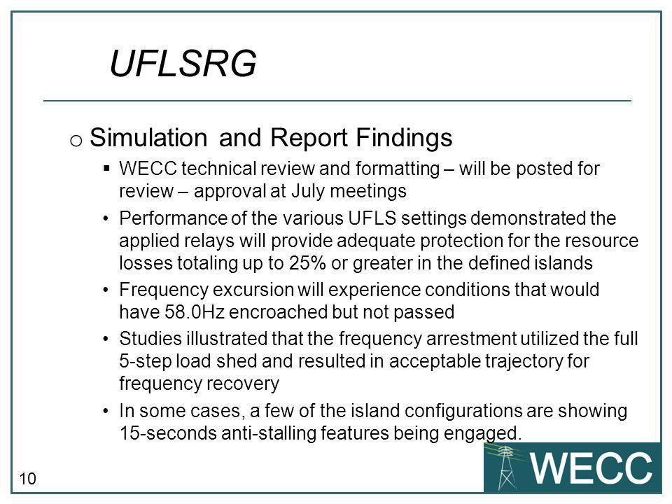 UFLSRG Simulation and Report Findings