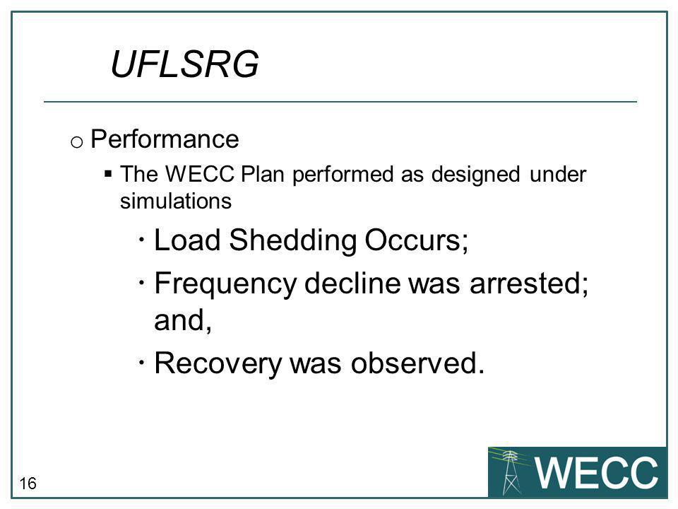 UFLSRG Load Shedding Occurs; Frequency decline was arrested; and,