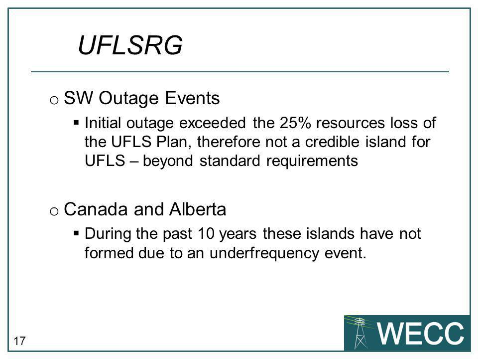 UFLSRG SW Outage Events Canada and Alberta