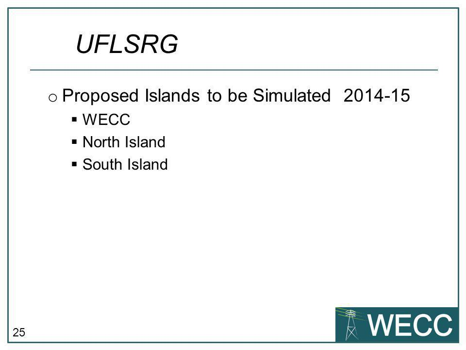 UFLSRG Proposed Islands to be Simulated 2014-15 WECC North Island