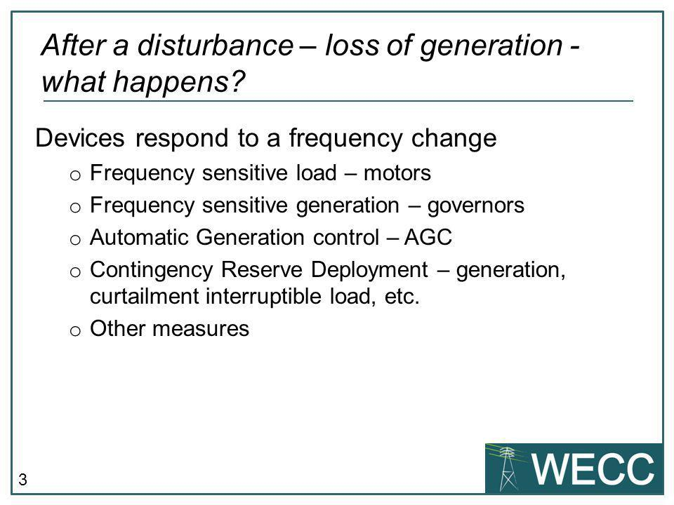 After a disturbance – loss of generation - what happens