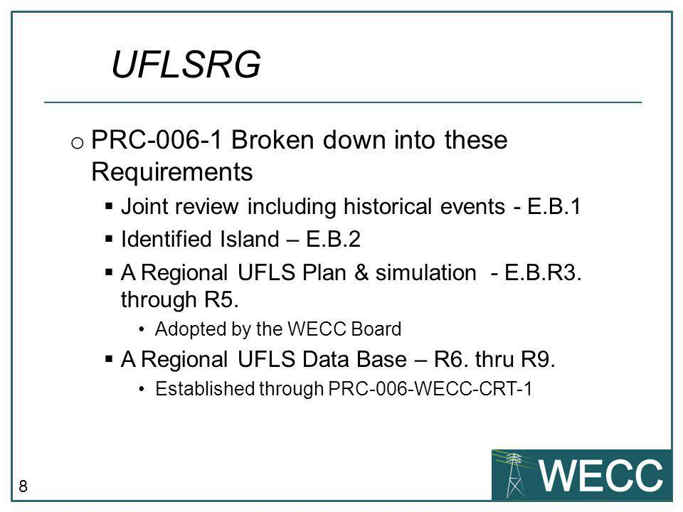 UFLSRG PRC-006-1 Broken down into these Requirements