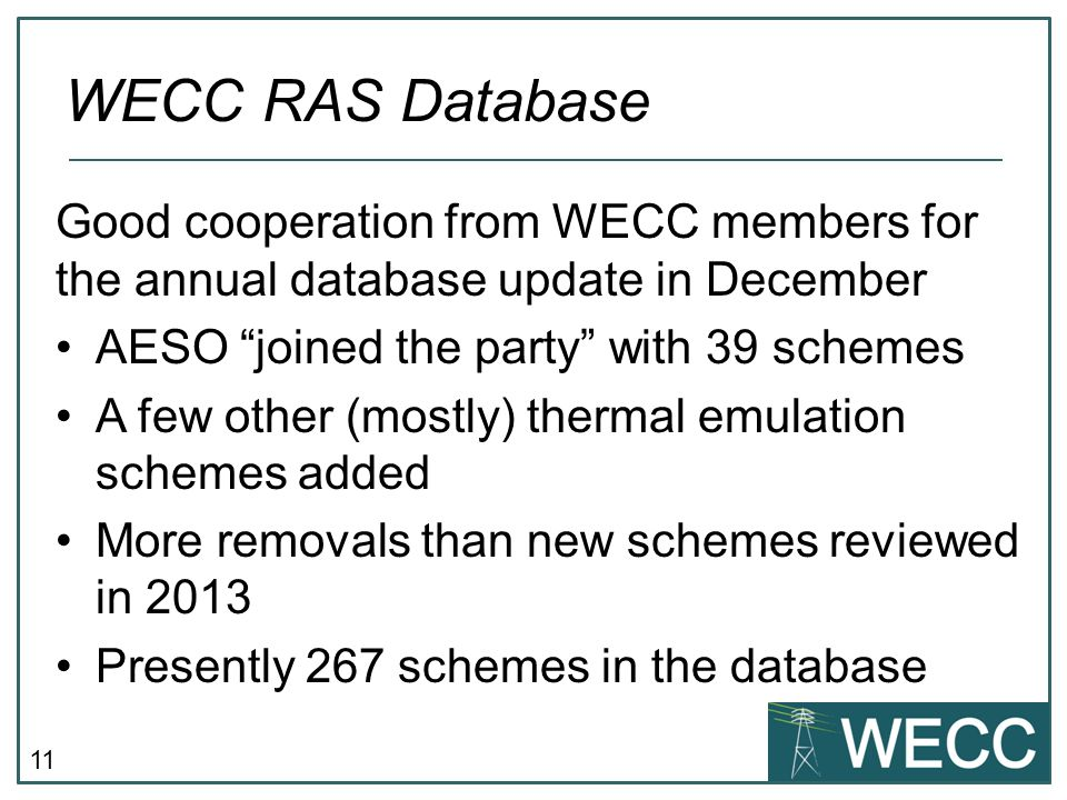 WECC RAS Database Good cooperation from WECC members for the annual database update in December. AESO joined the party with 39 schemes.